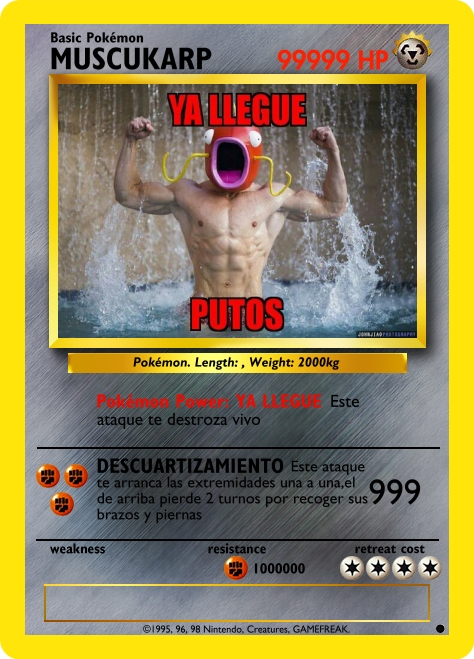Guerra de cartas Createcard.php?name=MUSCUKARP&type=Steel&hp=99999&stage=Basic&pred=&predpicture=&mainpicture=http%3A%2F%2Fpm1.narvii.com%2F6338%2F7663822aadbba4a5d8c2931d9ed69791c052c769_hq.jpg&species=&length=&weight=2000kg&attack1name=YA+LLEGUE&attack1damage=999999989999999999999999999999999999999999999&power=on&attack1info=Este+ataque+te+destroza+vivo&attack1cost=fstt&attack2name=DESCUARTIZAMIENTO&attack2damage=999&attack2info=Este+ataque+te+arranca+las+extremidades+una+a+una%2Cel+de+arriba+pierde+2+turnos+por+recoger+sus+brazos+y+piernas&attack2cost=ttt&weakness=&weaknessmod=&resistance=Fighting&resistancemod=1000000&retreat=4&flavor=&artist=&bottom=%C2%A91995%2C+96%2C+98+Nintendo%2C+Creatures%2C+GAMEFREAK